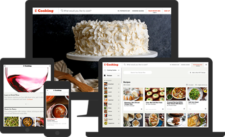 New York Times Cooking displayed on different devices
